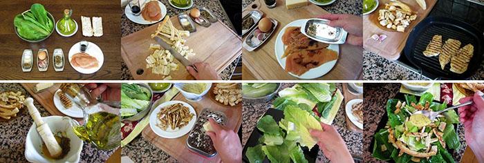 Приготовление классического салата цезарь с курицей фото