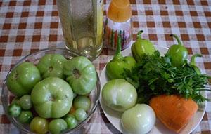Продукты для приготовления икры из зеленых помидоров на зиму