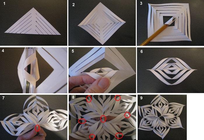 Схема создания объемной снежинки