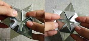 Инструкция снежинки оригами шаг девятый