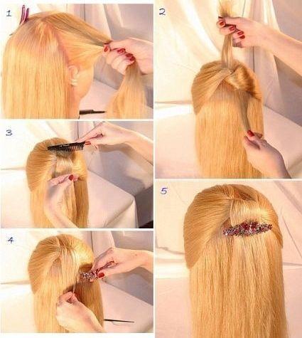 Быстрая прическа на средние волосы с заколкой