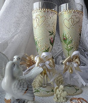 декорирование бокалов на свадьбу своими руками