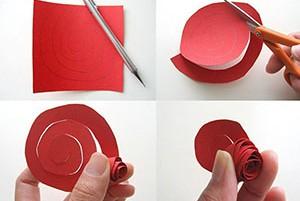Этапы поделки из цветной бумаги розы своими руками