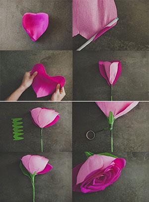 Этапы создания гигантского цветка из гофрированной бумаги