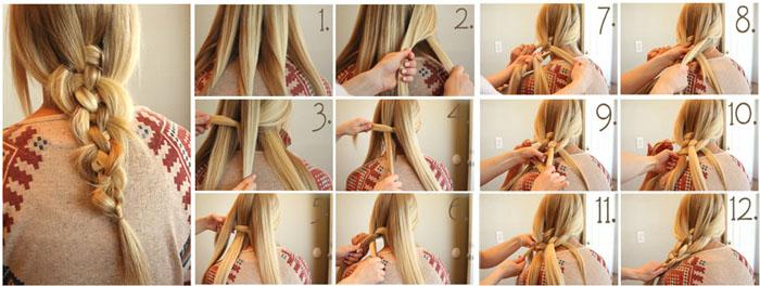 Процесс плетения косы из пяти
