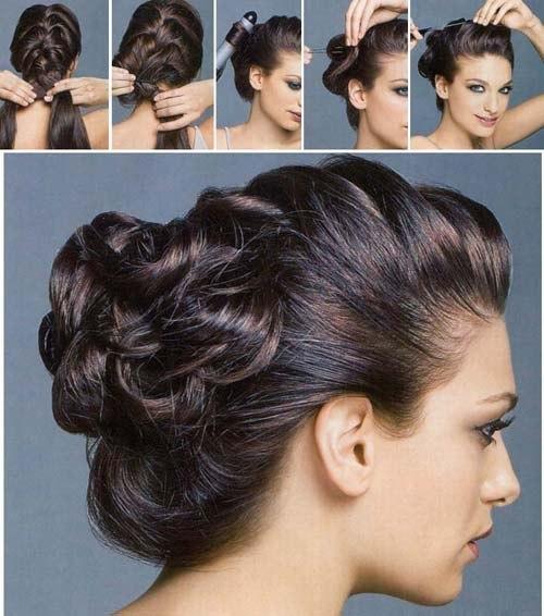 Как сделать праздничную прическу на средний волос
