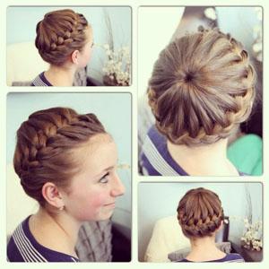 Прическа корона на средние волосы