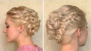 Прическа с плетением для средних волос