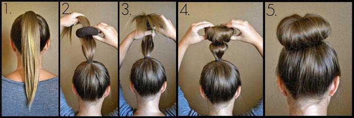 Пучок на средние волосы с помощью бублика