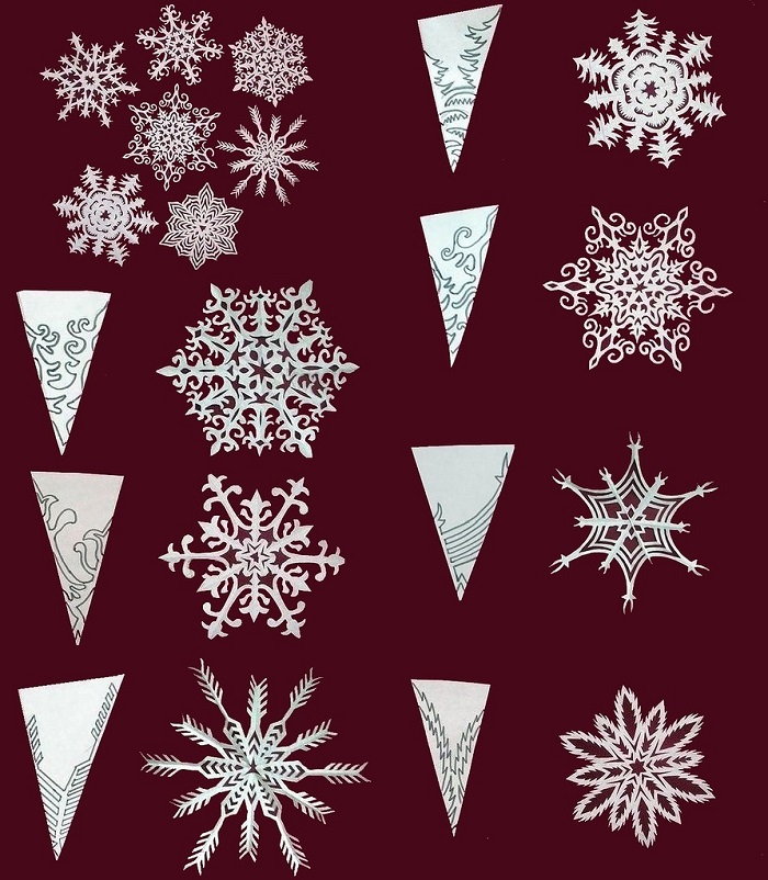 Плотные снежинки из бумаги Как сделать снежинку из бумаги Вырезаем снежинки
