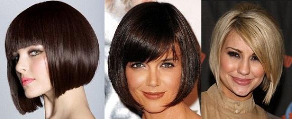 Стрижки каре на средние волосы с челкой фото