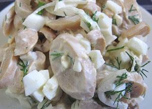 Рецепт салата с ветчиной и грибами