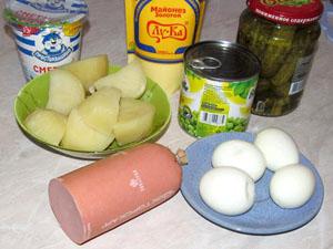 Оливье с колбасой вместо курицы