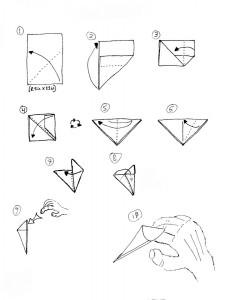Схема выполнения когтей из бумаги
