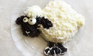 Салат в виде овечки для праздничного стола своими руками