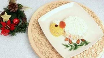 вкусный салат в виде овечки для праздничного стола