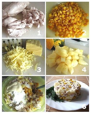 Технология приготовления салата с ананасом