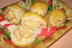 Фаршированные кальмары для запекания в духовке с кабачком