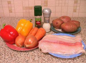 Ингредиенты для запекания филе рыбы в заливке с начинкой