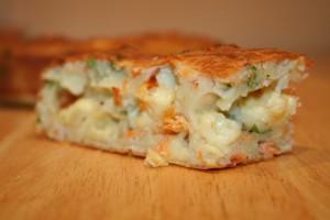 пирог на кефире с сайрой и картошкой рецепт с фото