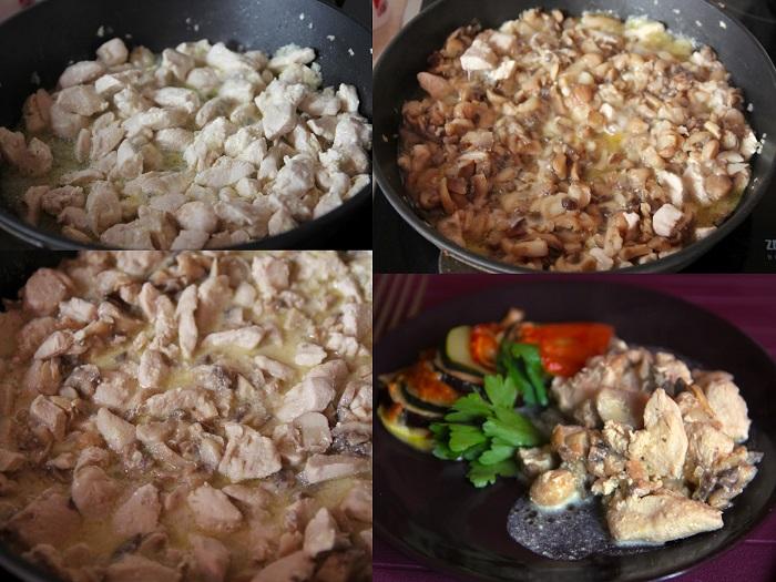 Приготовление курицы с грибами