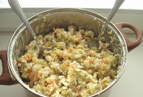 Перемешанные ингредиенты для салата столичный