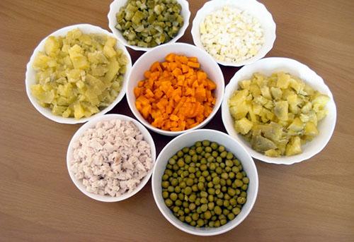 Правильно нарезанные ингредиенты для салата столичный
