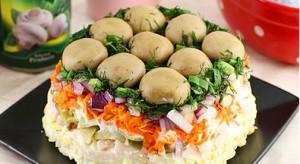 Интересный салат лесная поляна с шампиньонами вкусно сытно красиво