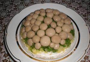 Результат приготовления салата полянка с мясом