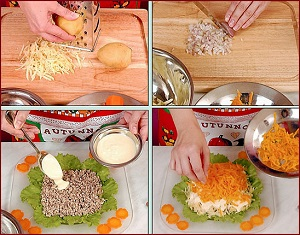Укладываем салат мимоза с сардиной