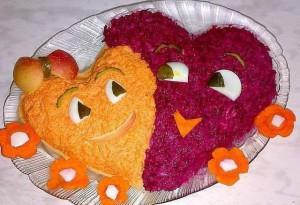 Салат сердечки влюбленные