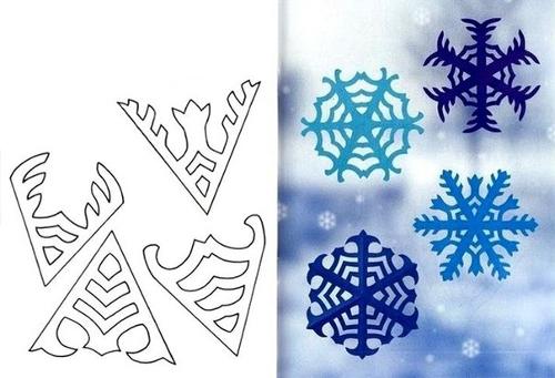Схема для вырезания узорчатых снежинок