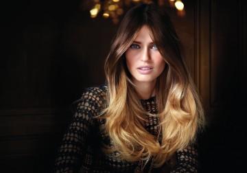 Омбре на темные и светлые длинные волосы