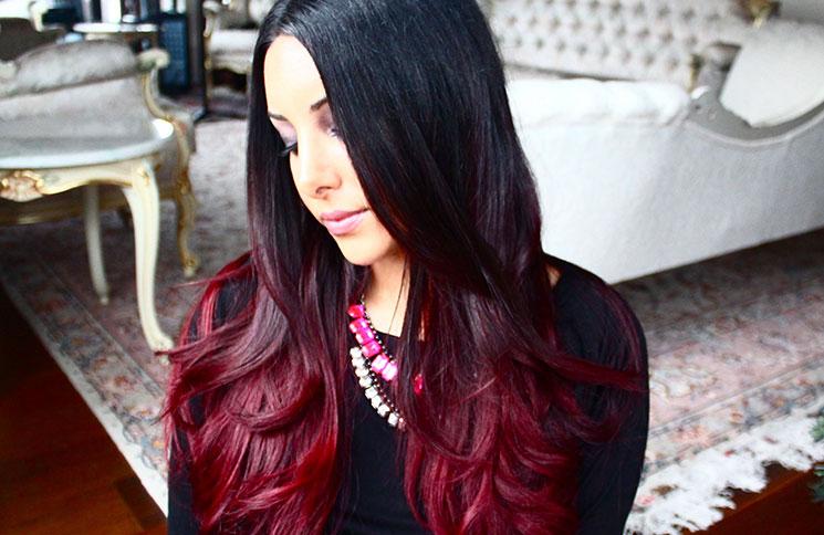 Омбре на темные длинные волосы