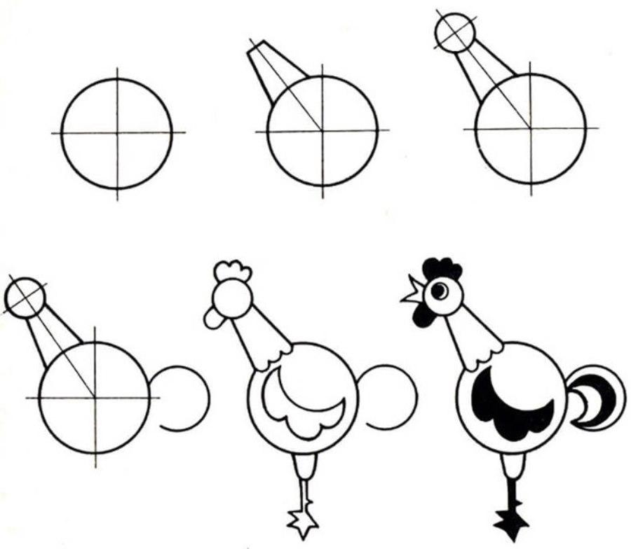 Как нарисовать петуха на ногтях пошагово