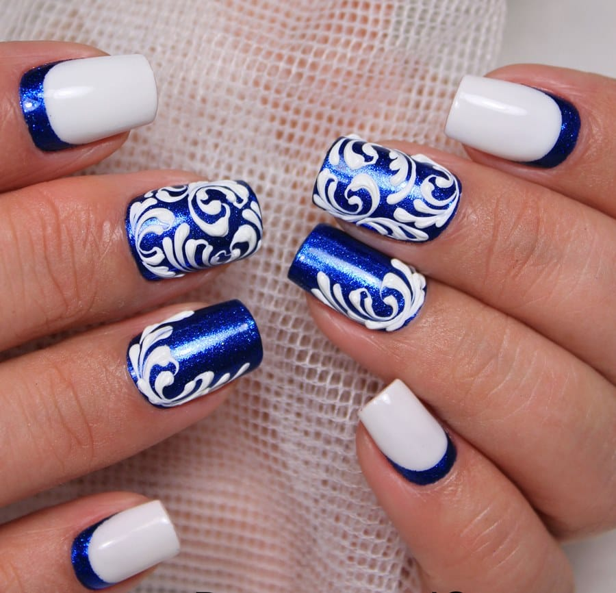 Фото зимнего маникюра на коротких ногтях