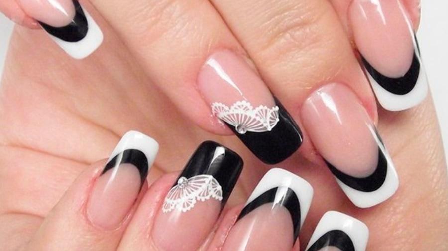 Дизайн бело-черных ногтей