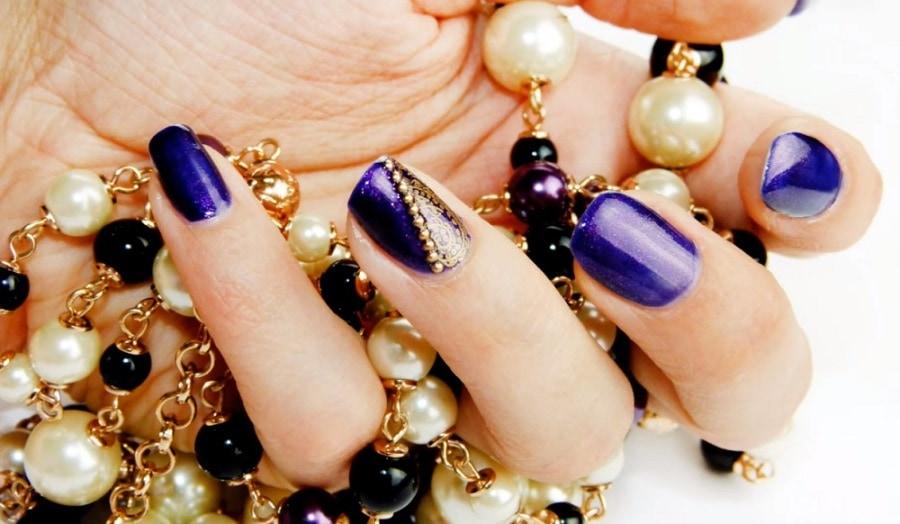 Ногти дизайн синие с золотом