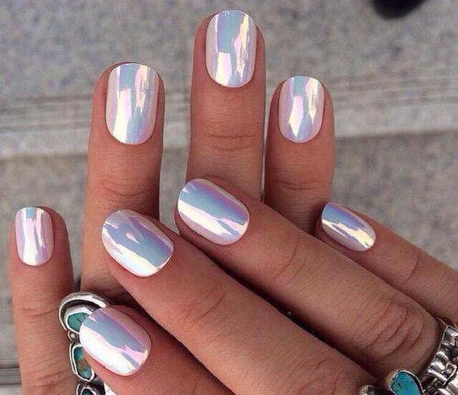 Гель зеркальный для ногтей дизайн на короткие ногти