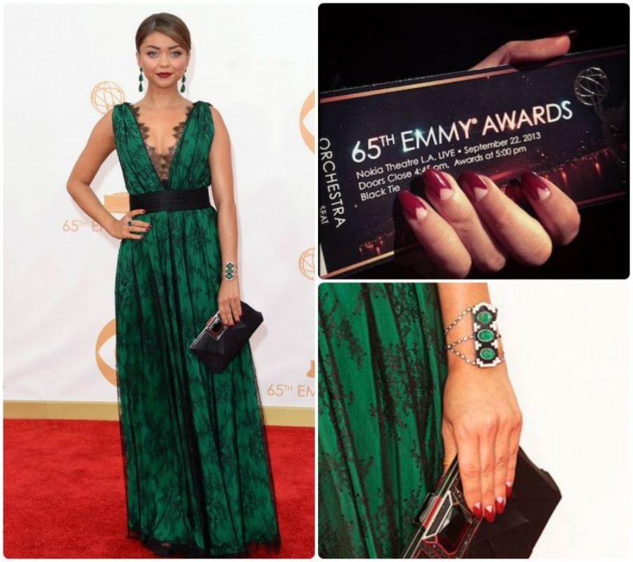 Маникюр под темно-зеленое платье