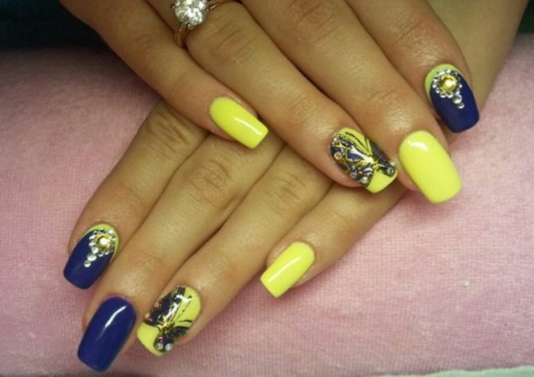 Ногти жёлтые с синим