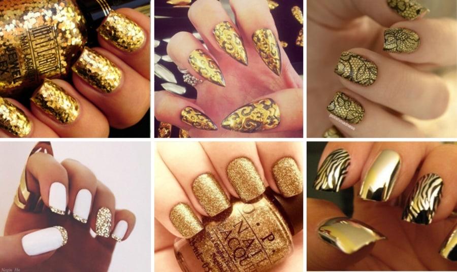 Дизайн ногтей к золотому платью