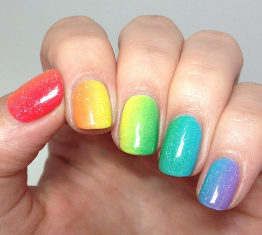 Гель лак радуга на ногтях