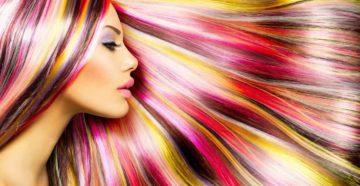 Яркое окрашивание волос