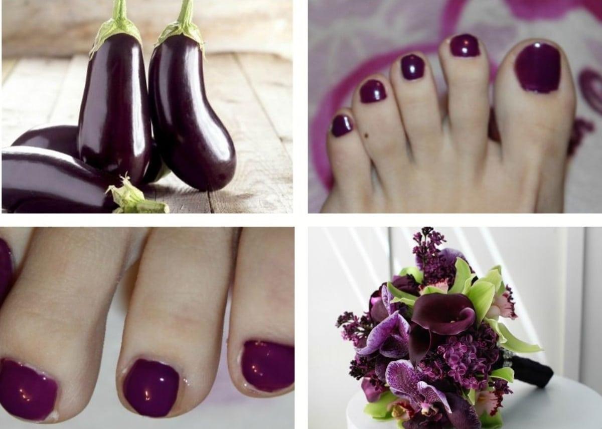 Фото ногти цвет баклажан