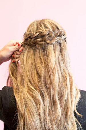 Коса водопад на длинные волосы