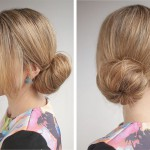 пучок на средние волосы