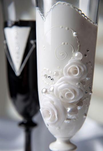 украшение бокалов на свадьбу своими руками дизайн