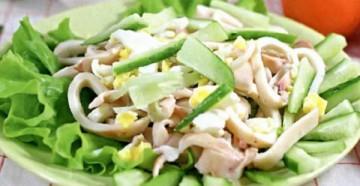 кальмаровый салат классический рецепт приготовления вкусной закуски и советы по выбору продуктов для хозяйки