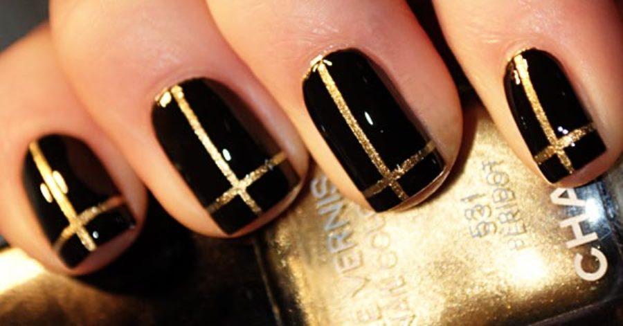 Черно-золотой дизайн ногтей